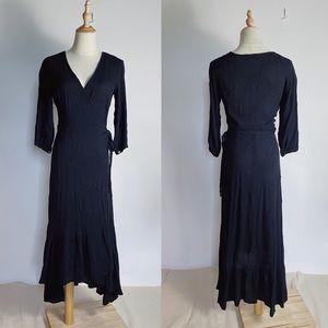 CARLY JEAN LA Eyelet Rayon Gauze Midi Dress Black
